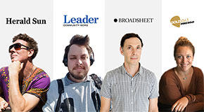 Four head shots of media professionals with the name of their company appearing below each, including Herald Sun, Leader, Broadsheet and Gold 104.3